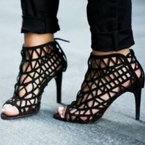 Zara Black Caged Lace Up Heels